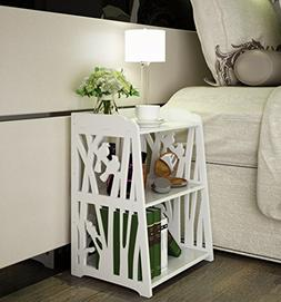 Mybestfurn Small Plastic-Wood White Bed End Table Nightstand