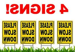 """Bundle of  PLEASE SLOW DOWN 12"""" x 18"""" Yellow Safety Sign + M"""