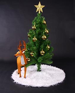 Mangadua Plush Christmas Tree Skirt Party Decoration,Ivory