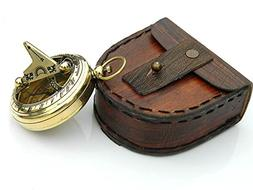 Pocket Sundial Compass in Handmade Leather Case.