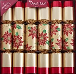 6 x Poinsettia Flower Gold and Red Robin Reed Christmas Crac