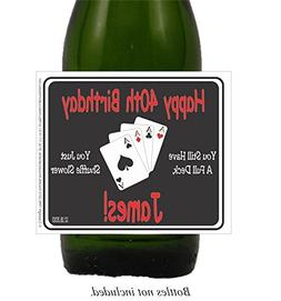 Poker Self Adhesive Birthday Wine, Champagne and Beer Labels