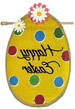 Evergreen Polka Dot Easter Egg Burlap House Flag, 28 x 44 in