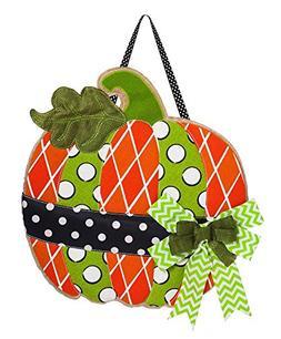 Evergreen Polka Dot Pumpkin Burlap Door Decor