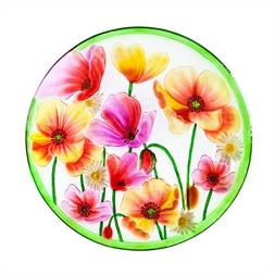 "Poppies Floral Glass Bowl Bird Bath 18"" Outdoor Safe Garden"