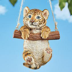Pouncing Baby TIger Statue Resin Feline Wild Cat Sculpture Y