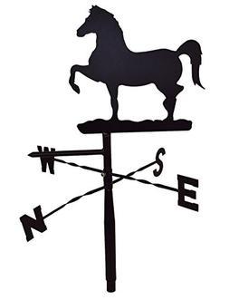 Prancing Horse Weather Vane Topper - Black Metal - For Rooft