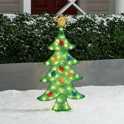 Pre Lit Xmas Tree Icy Sculpture Christmas Decoration Outdoor