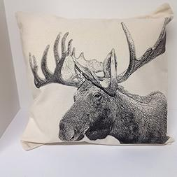 Eric & Christopher Large Screen Printed Pillow - Moose
