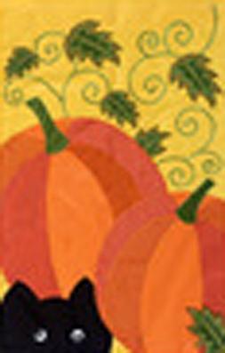 Pumpkin Cat Applique Flag