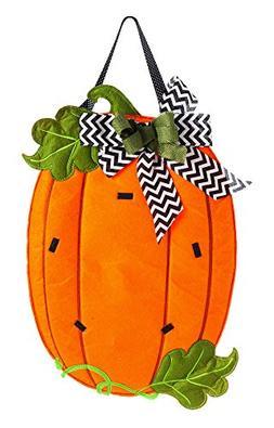 Evergreen Pumpkin Monogram Outdoor Safe Felt Door Decor