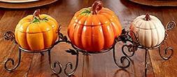 Pumpkin Table Centerpiece Bowl Set Thanksgiving Harvest Fall
