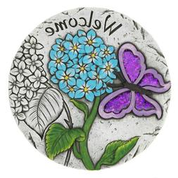 Purple Butterfly Floral Welcome Cement Garden Stepping Stone