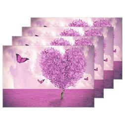 WOZO Beautiful Purple Butterfly Placemat Table Mat, Love Hea