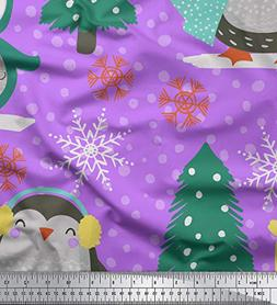 Soimoi Purple Poly Georgette Fabric Christmas Tree & Penguin