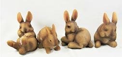 Rabbit Resin Figurines Yard & Garden Home Decor Set of 4