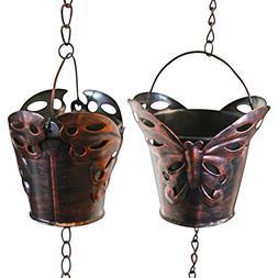 Rain Chain - 65 Inch Length Hanging Rain Catcher with Six Co