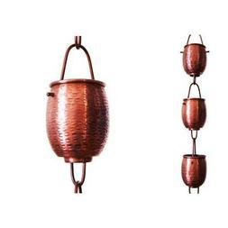 Rain Chain Pure Copper 8.5 ft Textured Barrel Downspout Guid