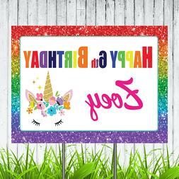 Rainbow Unicorn Personalized Happy Birthday Yard Sign Lawn D