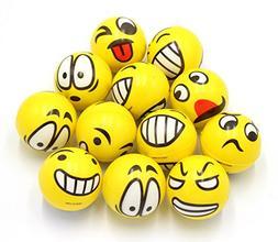 Set of 12 - Fun Face Emoji Stress Balls Cute Hand Wrist Stre
