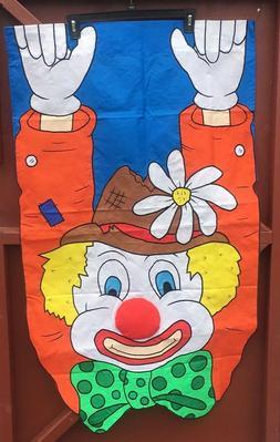 RARE Large Yard Flag Happy Clown Circus Birthday Party 3D NE