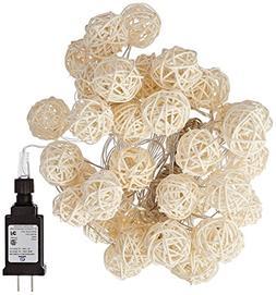 Rattan Ball LED Decorative String Lights w/ IP44 UL-listed P