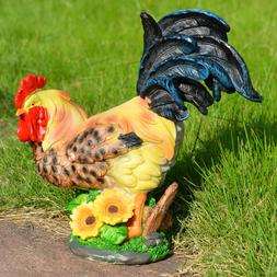Realistic Resin Rooster Garden Yard Lawn Decoration Sunflowe