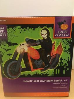 reaper on chopper motorcycle halloween airblown inflatable