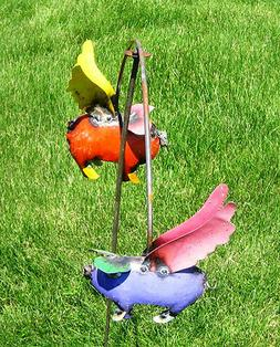 Recycled Metal Pig Balance Garden Stake Lawn Ornament  Yard