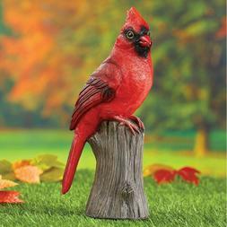 RED CARDINAL BIRD ON STUMP STATUE FIGURE OUTDOOR GARDEN YARD
