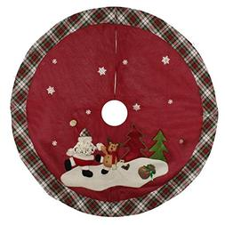 48 inch Red Christmas Tree Skirt with Snowman,Burlap Xmas Tr