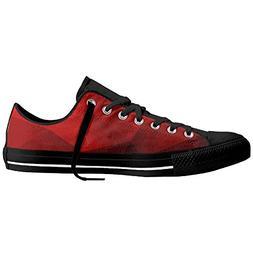 Yo Ou Red Geometric Fiber Durable Rubber Out-sole Lace-up Lo