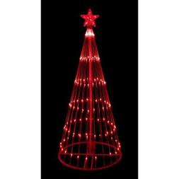 4' Red LED Light Show Cone Christmas Tree Lighted Yard Art D