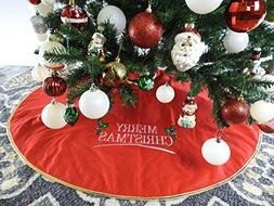 """42"""" Red Non-Woven Christmas Tree Skirt With Embroidered Merr"""