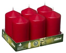 BOLSIUS 3x6 Set of 6 Red Wedding Party Pillar Candles Aprox