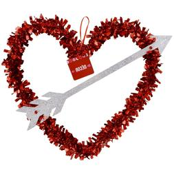 Red Tinsel Heart Wreath Wall Door Decor Valentines Day Party