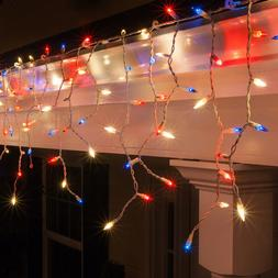 Red White & Blue Patriotic Icicle Lights 4th of July Decorat