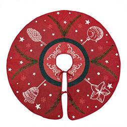 """Primode Red Xmas Tree Skirt 50"""", Jacquard Stitched Woven in"""
