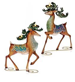 Set of 2 Regal Peacock Reindeer Christmas Tea Light Candle H