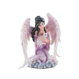 Religious Figurine Home Tabletop Statue Angel & Cat Sculptur