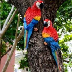 Resin Simulation Parrot Birds Sculpture Cute Wall Hanging Cr