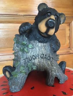 Resin Toad Frog House Log With Black Bear Figure Garden Yard