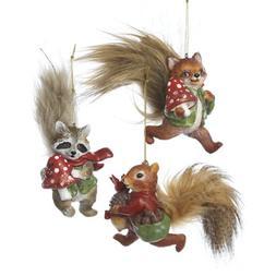 "Kurt Adler 6-7"" Resin Woodland Animals W/fluffy Tails Orname"