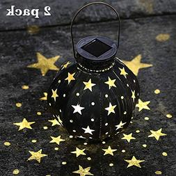 Maggift Retro Solar Lantern Star Hanging Lights Metal Solar