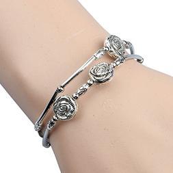 Ikevan Newest Fashion Retro Three Roses Hand Chain Bracelet