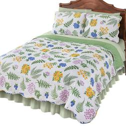 Reversible Fern Garden Floral Quilt, by Collections Etc