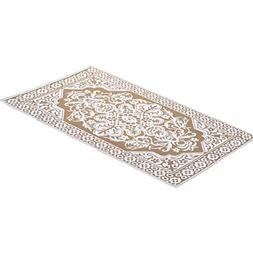 Reversible Medallion Patio Outdoor 4 ft X 6 ft Mat, Sand