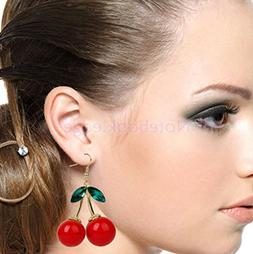 Rock Crystal Red Cherry Dangle Drop Gold Hook Earrings Chand