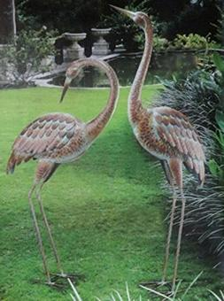 CHSGJY Romantic Garden Crane Pair Coastal Metal Statues Bird