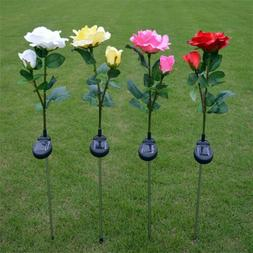 Rose Flower Outdoor Solar Powered 2 LED Light Garden Yard La